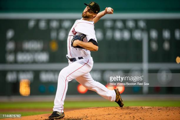 Colten Brewer of the Boston Red Sox delivers during the first inning of a game against the Houston Astros on May 18 2019 at Fenway Park in Boston...