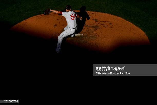 Colten Brewer of the Boston Red Sox delivers during the seventh inning of a game against the Baltimore Orioles on September 28 2019 at Fenway Park in...