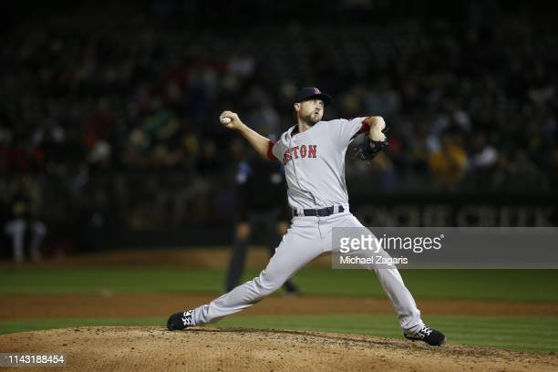 Colten Brewer of the Boston Red Sox pitches during the game against the Oakland Athletics at the OaklandAlameda County Coliseum on April 3 2019 in...