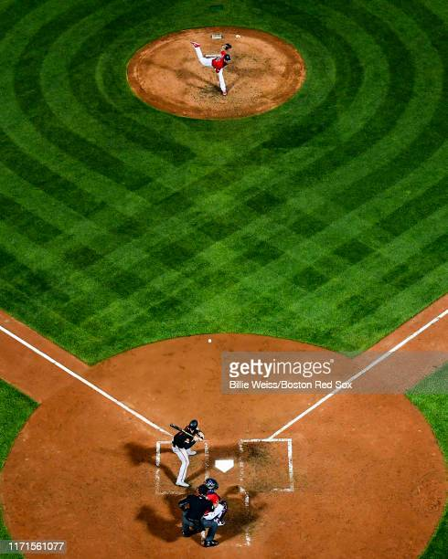 Colten Brewer of the Boston Red Sox pitches during the seventh inning of a game against the Baltimore Orioles on September 27 2019 at Fenway Park in...