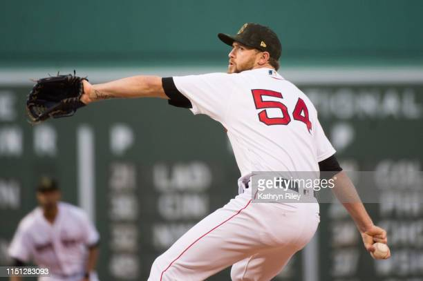 Colten Brewer of the Boston Red Sox pitches in the first inning against the Houston Astros at Fenway Park on May 18 2019 in Boston Massachusetts