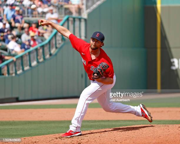Colten Brewer of the Boston Red Sox throws the ball against the Tampa Bay Rays on February 22 2020 at JetBlue Park in Fort Myers Florida The Red Sox...