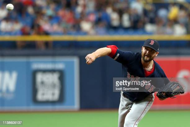 Colten Brewer of the Red Sox delivers a pitch to the plate during the MLB regular season game between the Boston Red Sox and the Tampa Bay Rays on...