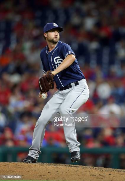 Colten Brewer of the San Diego Padres throws a pitch during a game against the Philadelphia Phillies at Citizens Bank Park on July 20 2018 in...