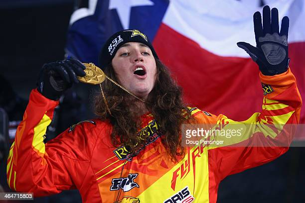 Colten Moore celebrates with the gold medal after winning the snowmobile freestyle finals at Winter XGames 2014 Aspen at Buttermilk Mountain on...