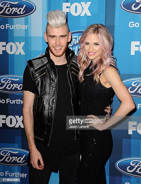 Colton Dixon and Annie Coggeshall attend FOX's American Idol finale for the farewell season at Dolby Theatre on April 7 2016 in Hollywood California