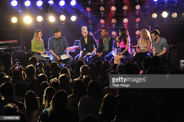 Colton Dixon Joshua Ledet Jessica Sanchez Haley Reinhart and Phillip Phillips speak at iHeartRadio Live Presents American Idol Live Tour on August 29...