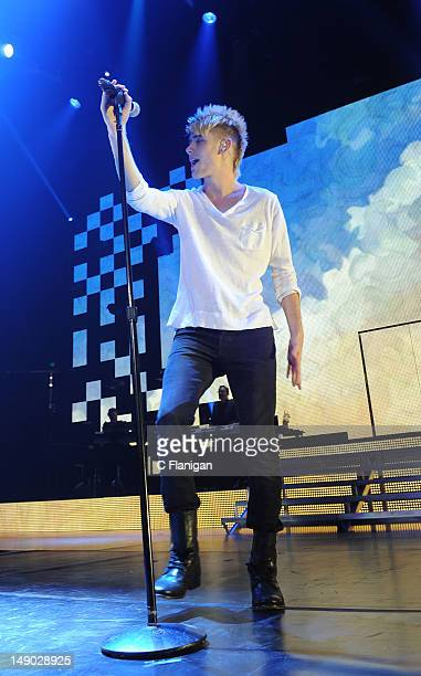 Colton Dixon performs during the American Idol Live Summer Tour presented by Chips Ahoy and Ritz at Power Balance Pavilion on July 21 2012 in...