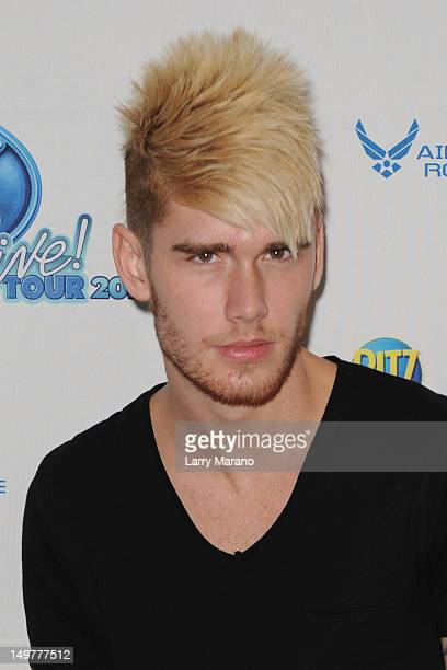 Colton Dixon poses backstage during American Idols Live at BankAtlantic Center on August 3 2012 in Sunrise Florida