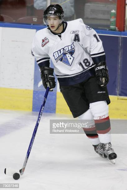 Colton Gillies of Team BowmanDemers skates with the puck during the warmup session of the 2007 Home Hardware CHL/NHL Top Prospects Game against Team...