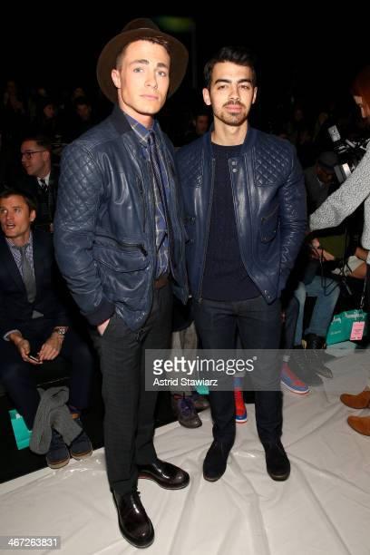 Colton Haynes and Joe Jonas attend Richard Chai fashion show during MercedesBenz Fashion Week Fall 2014 at The Salon at Lincoln Center on February 6...
