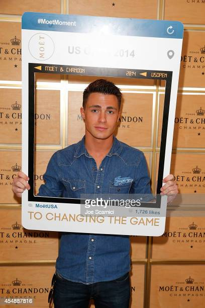 Colton Haynes attends the Moet Chandon Suite at The 2014 US Open during the Women's Final at USTA Billie Jean King National Tennis Center on...