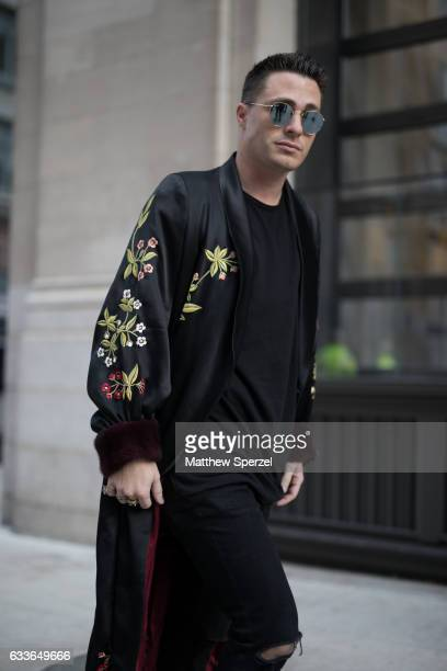 Colton Haynes is seen attending Palomo Spain while wearing a Palomo jacket on February 2 2017 in New York City