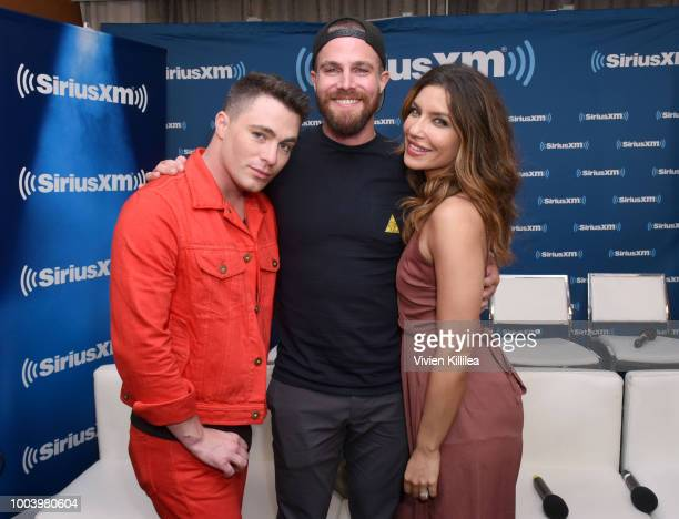 Colton Haynes Stephen Amell and Juliana Harkavy attend SiriusXM's Entertainment Weekly Radio Broadcasts Live From Comic Con in San Diego at Hard Rock...
