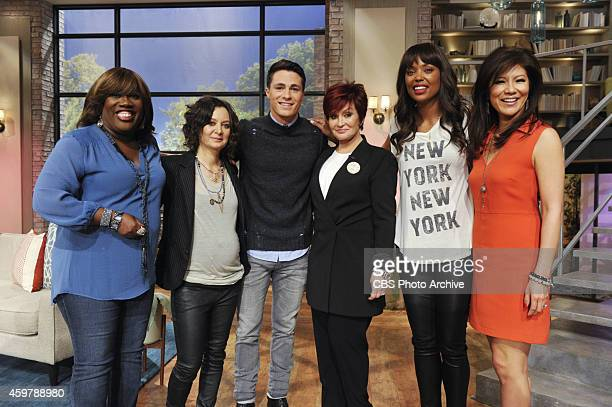 Colton Haynes visits the ladies of The Talk Wednesday November 26 2014 on the CBS Television Network From left Sheryl Underwood Sara Gilbert Colton...