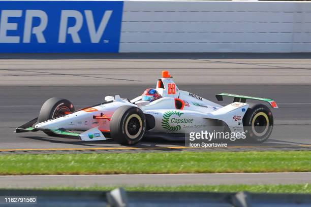 Colton Herta driver of the Capstone Turbine Honda drives during the IndyCar Series ABC Supply 500 on August 18 2019 at Pocono Raceway in Long Pond Pa