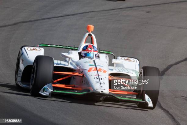 Colton Herta driver of the Capstone Turbine Honda races into turn 2 during the ABC Supply 500 on August 18 at Pocono Raceway in Long Pond PA