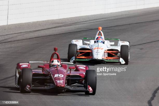 Colton Herta follows Ed Carpenter driver of the Ed Carpenter Racing Chevrolet into turn 2 during the ABC Supply 500 on August 18 at Pocono Raceway in...