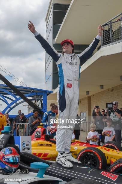 Colton Herta of Harding Steinbrenner Racing driving a Honda celebrates his first win at 18 years of age following the IndyCar Classic at Circuit of...