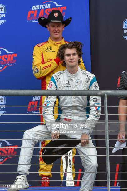 Colton Herta of Harding Steinbrenner Racing driving a Honda celebrates his first win at 18 years of age with a little dance on the podium following...
