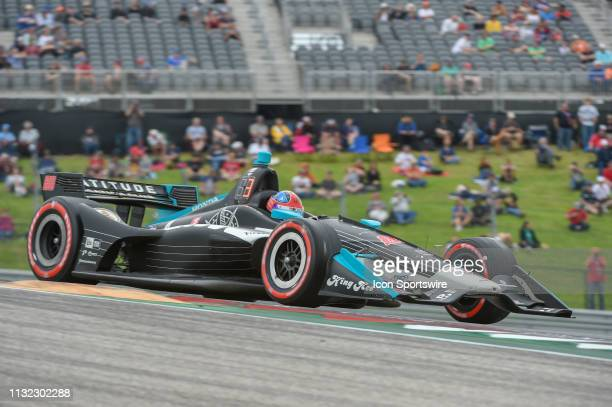 Colton Herta of Harding Steinbrenner Racing driving a Honda races out of turn 1 during the IndyCar afternoon qualifications at Circuit of the...
