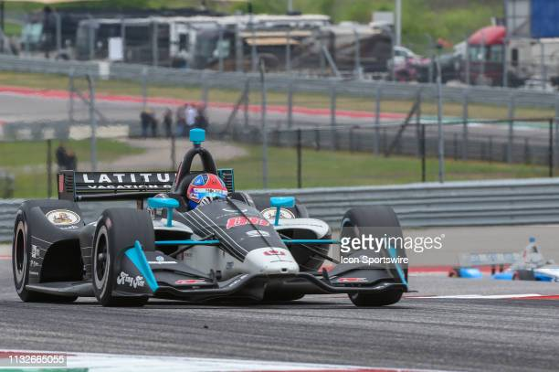 Colton Herta of Harding Steinbrenner Racing driving a Honda races up the hill towards turn 9 during the IndyCar Classic at Circuit of the Americas on...