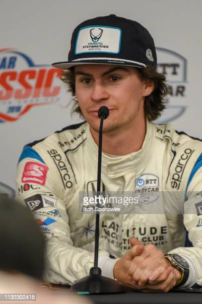 Colton Herta of Harding Steinbrenner Racing driving a Honda speaks during a press conference following the IndyCar afternoon qualifications at...