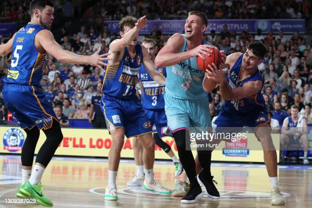 Colton Iverson of the Breakers with the ball during the round 11 NBL match between the Brisbane Bullets and the New Zealand Breakers at Nissan Arena...
