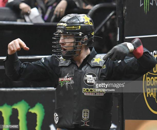 Colton Jesse reacts after riding the bull Show Train during the Professional Bullriders Mason Lowe Memorial on February 16 at Enterprise Center St...