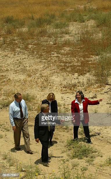 Colton June 24 2003 ––– Sarah Zamora Colton city council member right and other city officials shows around the land along Santa Ana River banks in...