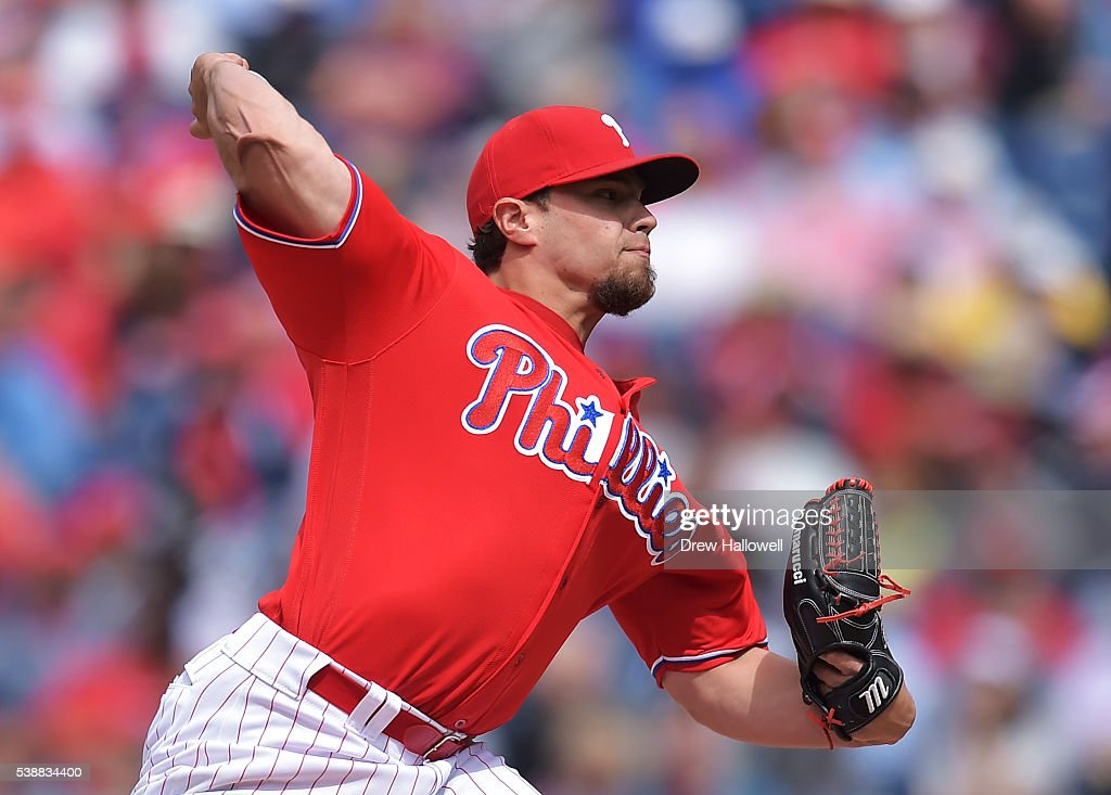 Colton Murray #60 of the Philadelphia Phillies drivers a pitch in the seventh inning against the Chicago Cubs at Citizens Bank Park on June 8, 2016 in Philadelphia, Pennsylvania. The Cubs won 8-1.