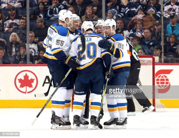 Colton Parayko Jay Bouwmeester Alexander Steen Paul Stastny and Vladimir Tarasenko of the St Louis Blues celebrate a second period goal against the...