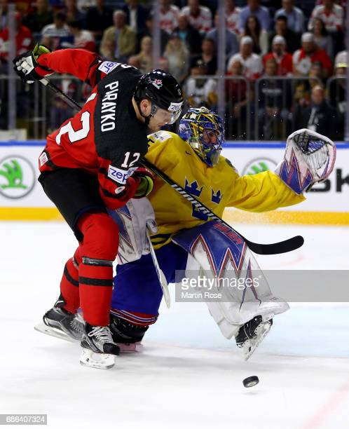 Colton Parayko of Canada fails to score over Henrik Lundqvist goaltender of Sweden during the 2017 IIHF Ice Hockey World Championship Gold Medal game...