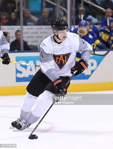Colton Parayko of Team North America stickhandles the puck against Team Sweden during the World Cup of Hockey 2016 at Air Canada Centre on September...