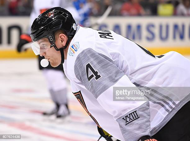 Colton Parayko of Team North America warms up prior to a game against Team Finland during the World Cup of Hockey 2016 at Air Canada Centre on...