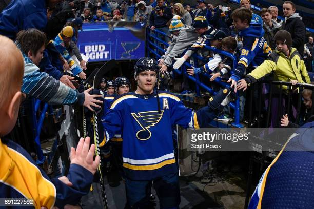 Colton Parayko of the St Louis Blues acknowledges the fans prior to warmups against the Tampa Bay Lightning at Scottrade Center on December 12 2017...