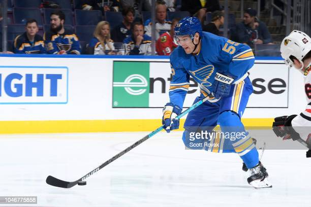 Colton Parayko of the St Louis Blues carries the puck against the Chicago Blackhawks at Enterprise Center on October 6 2018 in St Louis Missouri