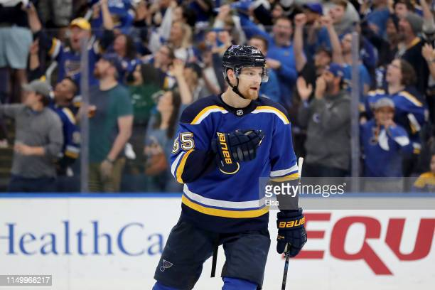 Colton Parayko of the St Louis Blues celebrates after defeating the San Jose Sharks with a score of 2 to 1 in Game Four of the Western Conference...