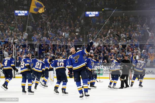 Colton Parayko of the St Louis Blues celebrates after defeating the Boston Bruins 42 in Game Four of the 2019 NHL Stanley Cup Final at Enterprise...