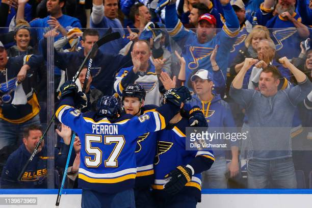 Colton Parayko of the St Louis Blues celebrates after scoring a goal against the Dallas Stars in Game Two of the Western Conference Second Round...