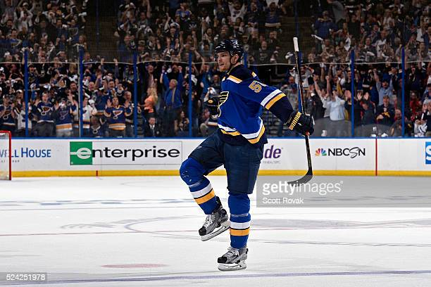 Colton Parayko of the St Louis Blues celebrates after scoring a goal against the Chicago Blackhawks in Game Seven of the Western Conference First...