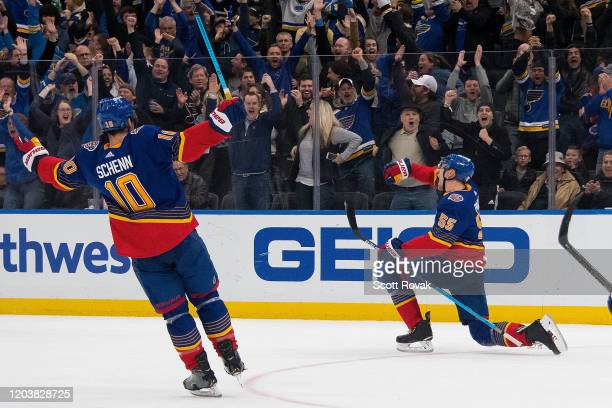 Colton Parayko of the St Louis Blues celebrates his game winning goal in overtime against the New York Islanders at Enterprise Center on February 27...