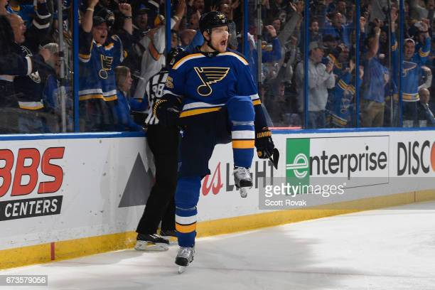 Colton Parayko of the St Louis Blues celebrates his goal against the Nashville Predators in Game One of the Western Conference Second Round during...