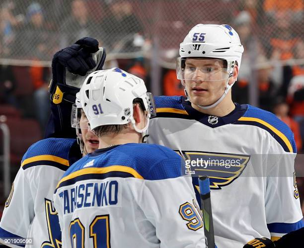 Colton Parayko of the St Louis Blues celebrates his goal with teammate Vladimir Tarasenko of the St Louis Blues in the third period against the...