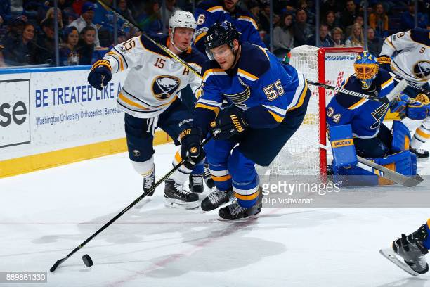 Colton Parayko of the St Louis Blues controls the puck against the Buffalo Sabres at Scottrade Center on December 10 2017 in St Louis Missouri