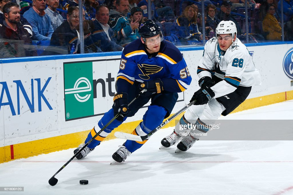 Colton Parayko #55 of the St. Louis Blues controls the puck against Timo Meiern #28 of the San Jose Sharks at Scottrade Center on February 20, 2018 in St. Louis, Missouri.