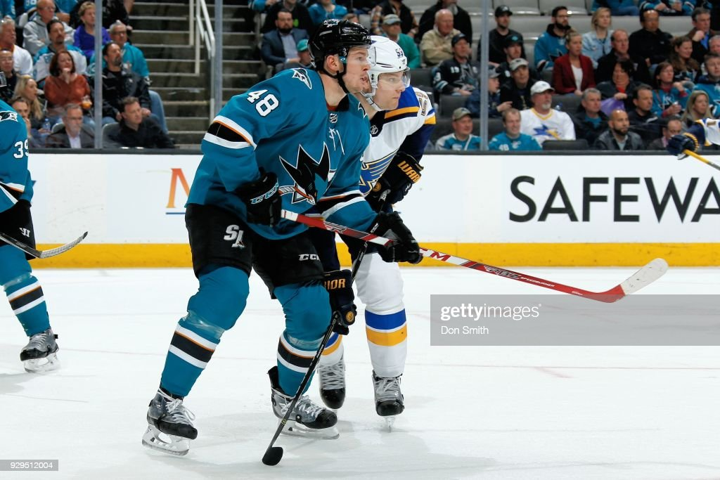 Colton Parayko #55 of the St. Louis Blues defends Tomas Hertl #48 of the San Jose Sharks at SAP Center on March 8, 2018 in San Jose, California.