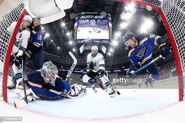 Colton Parayko of the St Louis Blues falls to the ice against the San Jose Sharks during the second period in Game Six of the Western Conference...