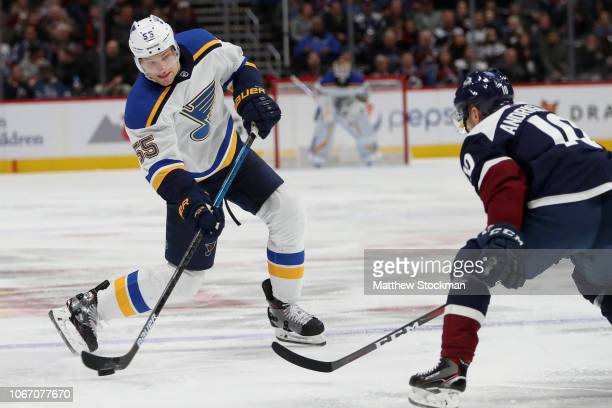 Colton Parayko of the St Louis Blues fires a shot on goal against Sven Andrighetto of the Colorado Avalanche at the Pepsi Center on November 30 2018...