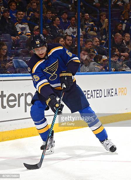 Colton Parayko of the St Louis Blues handles the puck against the Tampa Bay Lightning at the Scottrade Center on December 1 2016 in St Louis Missouri